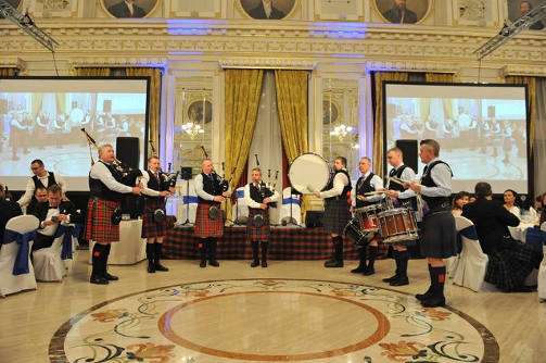 Burns Supper Budapest 2018, 4 times word champion Scottish pipers