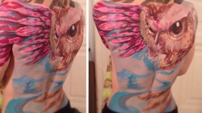 Budapest tattoo, owl, landscape,