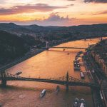 Budapest aerial view, sunset